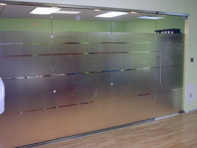 Glass Door And Office Partition With Sandblasted Design